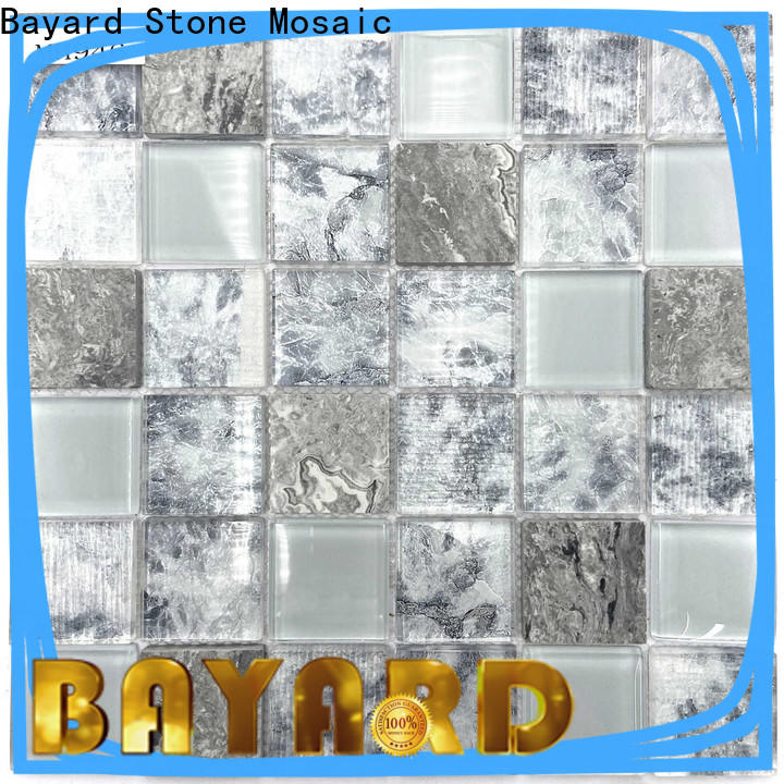 Bayard natural black glass mosaic tiles supplier for hotel lobby