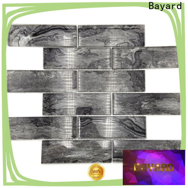 Bayard elegant black glass mosaic tiles factory for hotel lobby
