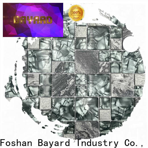 Bayard grey glass mosaic tile sheets factory price for hotel lobby