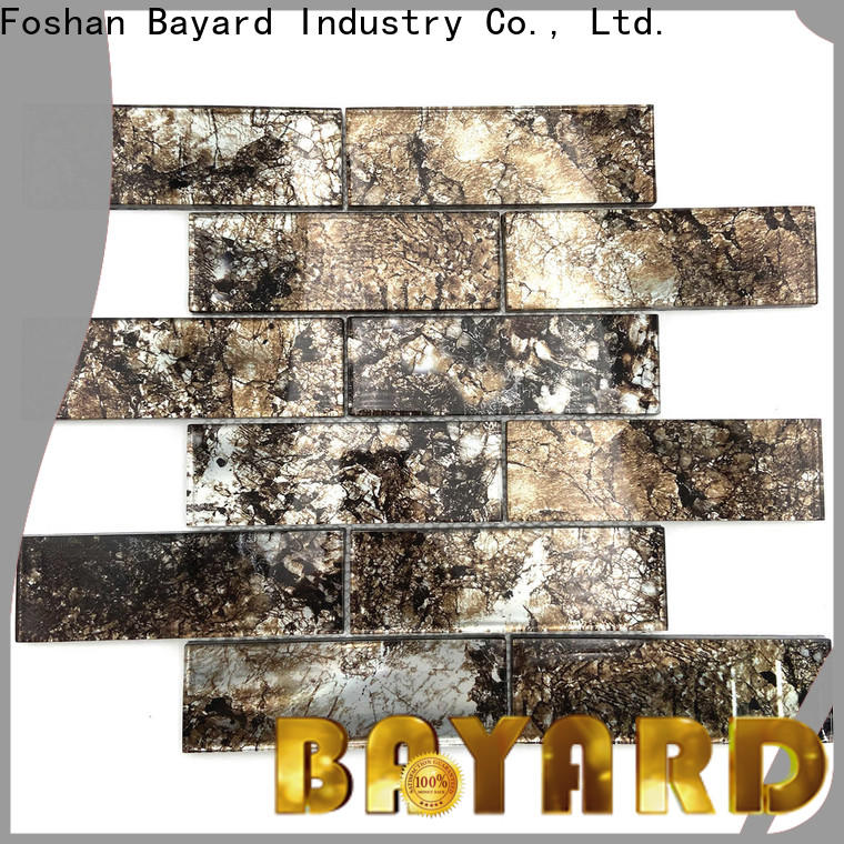 Bayard wooden iridescent glass mosaic tile factory for decoration