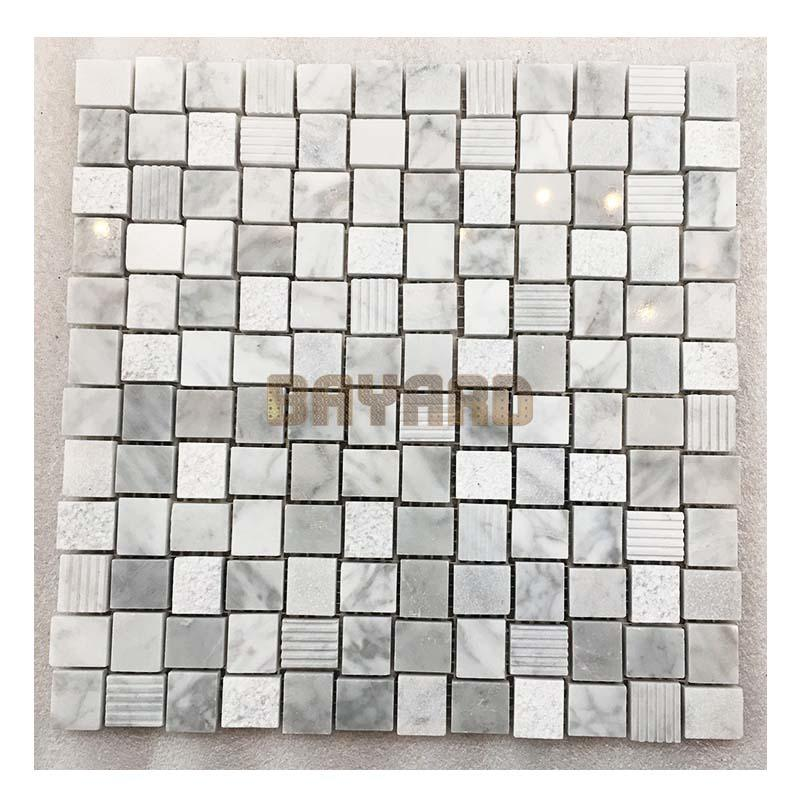Anti-slip light grey mix white marble mosaic tiles mosaic bathroom tiles AM306GL