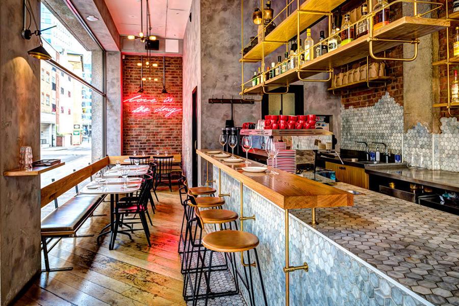 Restaurant Bar counter using marble mosaic tiles