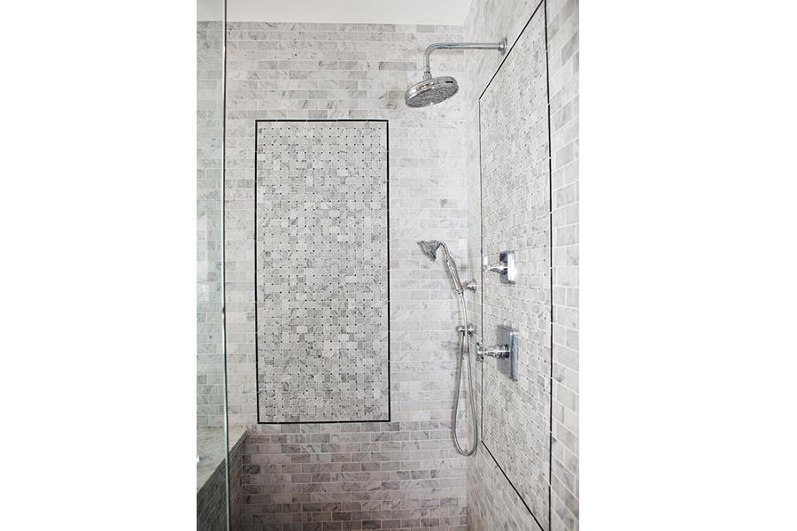 Shower places using anti-slip marble mosaic tile