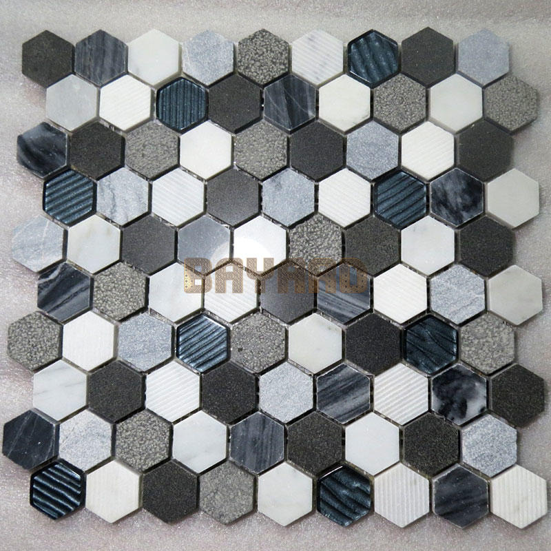 Marble mosaics anti-slip light grey mix white marble mosaic tiles blue stone mosaic tile AM301HY