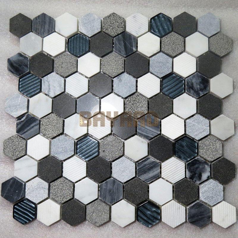 Marble mosaics anti-slip light grey mix white marble mosaic tiles blue stone mosaic tile AM301HY
