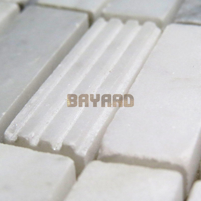 Light Grey and white marble mosaic tiles rectangle mosaic tiles marble mosaic tile sheets