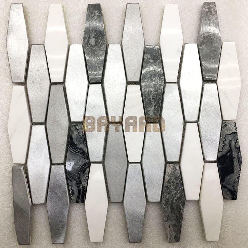 Metal mix marble mosaic tiles stone mosaic tile sheets metal mosaic tiles natural stone mosaic tile backsplash