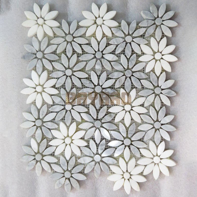 Flower shape marble mosaic tiles granite mosaic tile sheets silver grey mosaic tiles