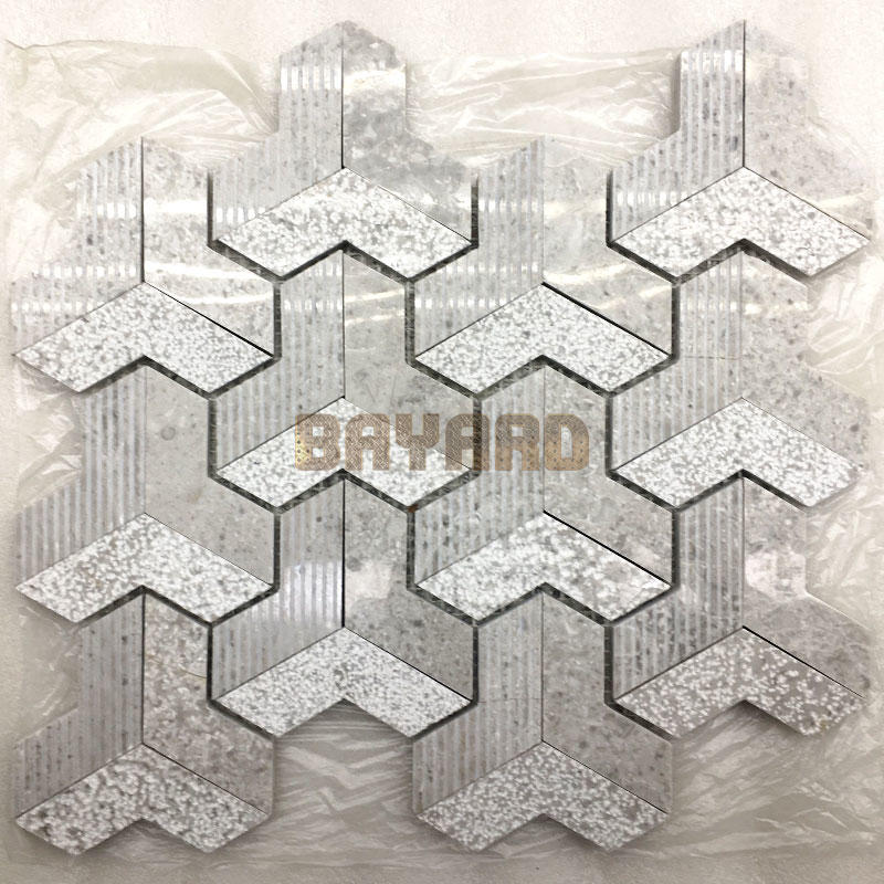 China factory marble stone mosaic tiles gray mosaic tile stone effect mosaic tiles grey mosaic bathroom wall tiles