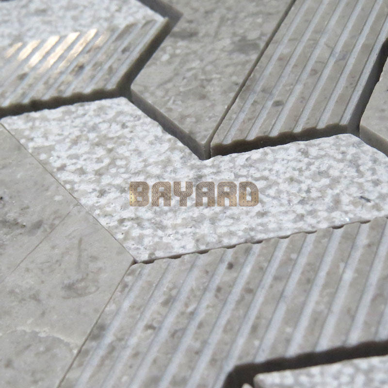 China factory marble stone mosaic tiles gray mosaic tile stone effect mosaic tiles grey mosaic bathroom wall tiles