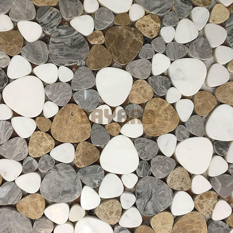 Many colors mix light emperador marble mosaic tiles pebble mosaic tile tumbled stone mosaic tile