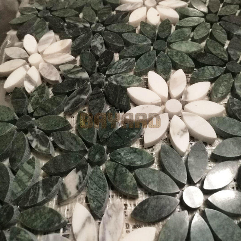 China Foshan Green marble stone mosaic tiles dark green mosaic tiles mosaic tile splashback