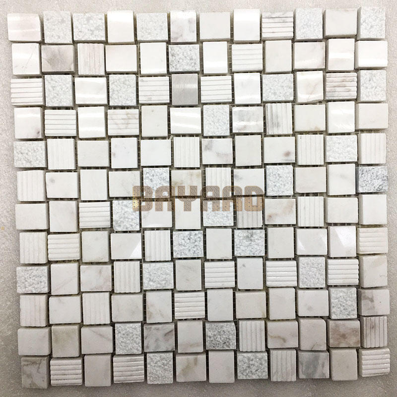 Rectangle chips white stone mosaic tiles mosaic flooring random mosaic tile