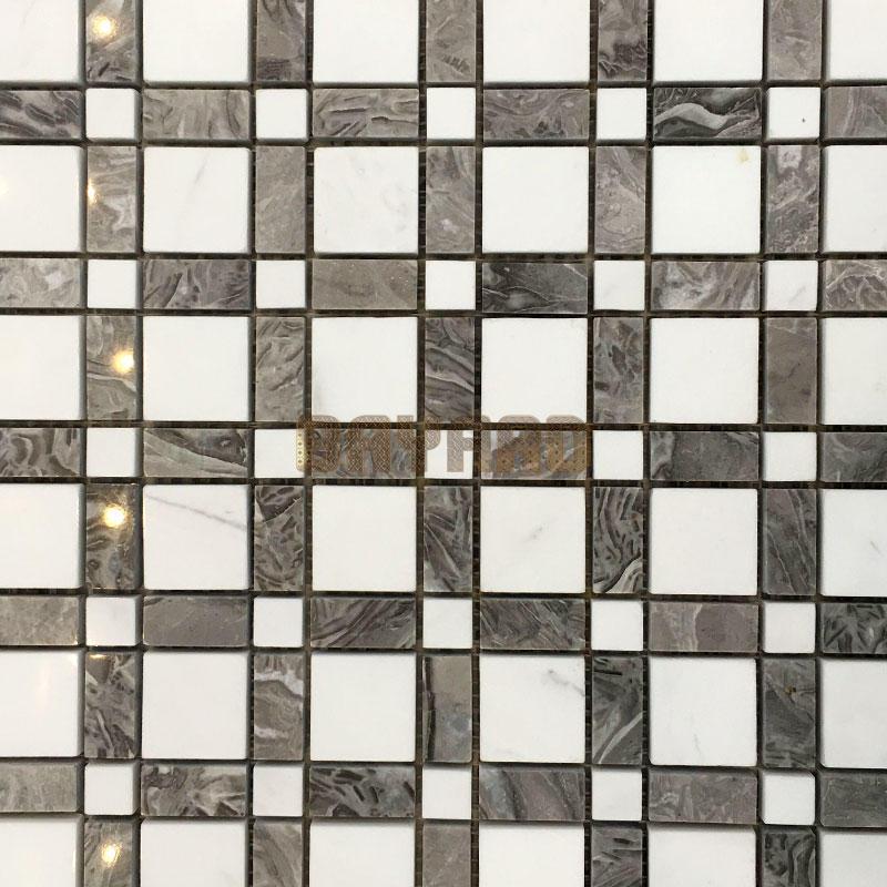 Square chips white stone mosaic tiles mixed mosaic tiles mosaic floor tile sheets
