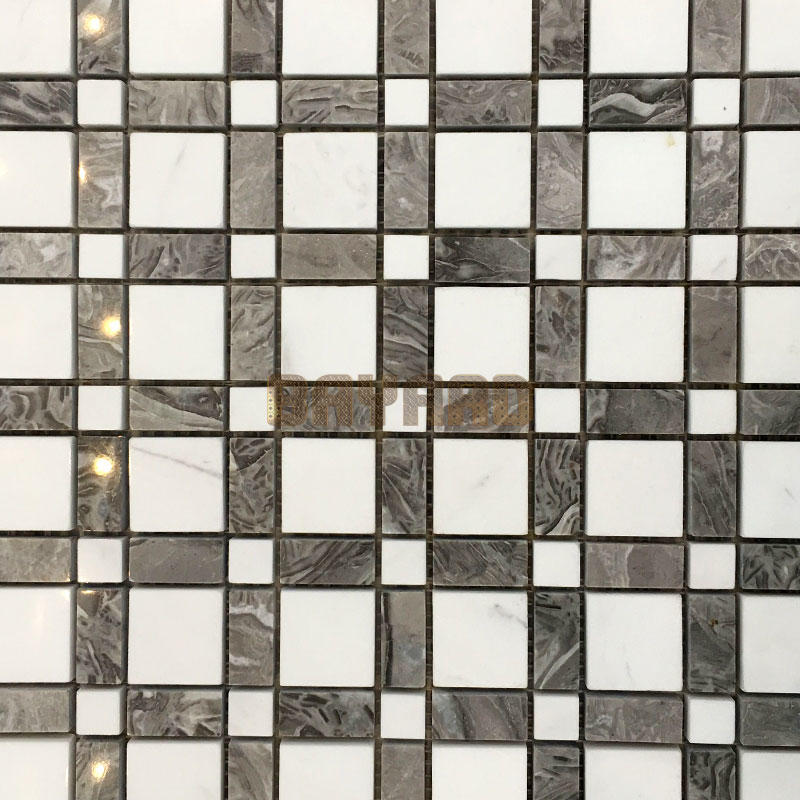 Square chips white stone mosaic tiles mixed mosaic tiles mosaic floor tile sheets