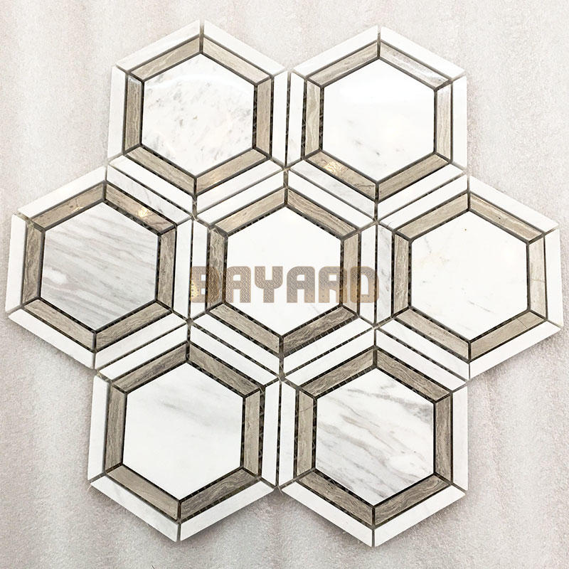 White Hexagan stone mosaic tiles mosaic tile backsplash natural stone mosaic wall tile