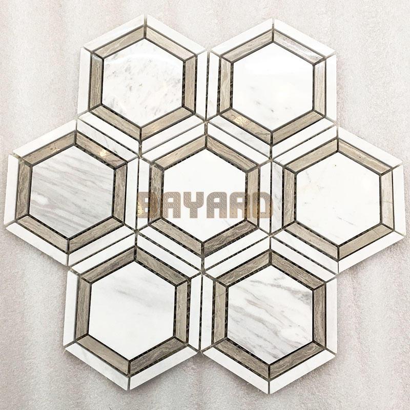 White Hexagan stone mosaic tiles mosaic tile backsplash natural stone mosaic wall tile