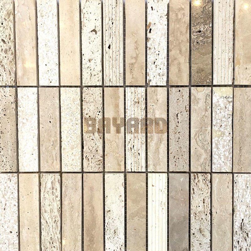 Beige Travertine natural stone mosaic tiles travertine brick mosaic tile