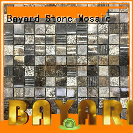 Bayard dark mosaic tile kitchen backsplash for TV wall