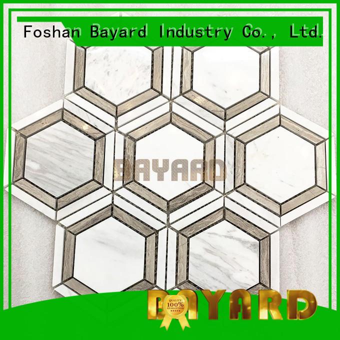 Bayard natural stone tile mosaic hexagan for wall decoration