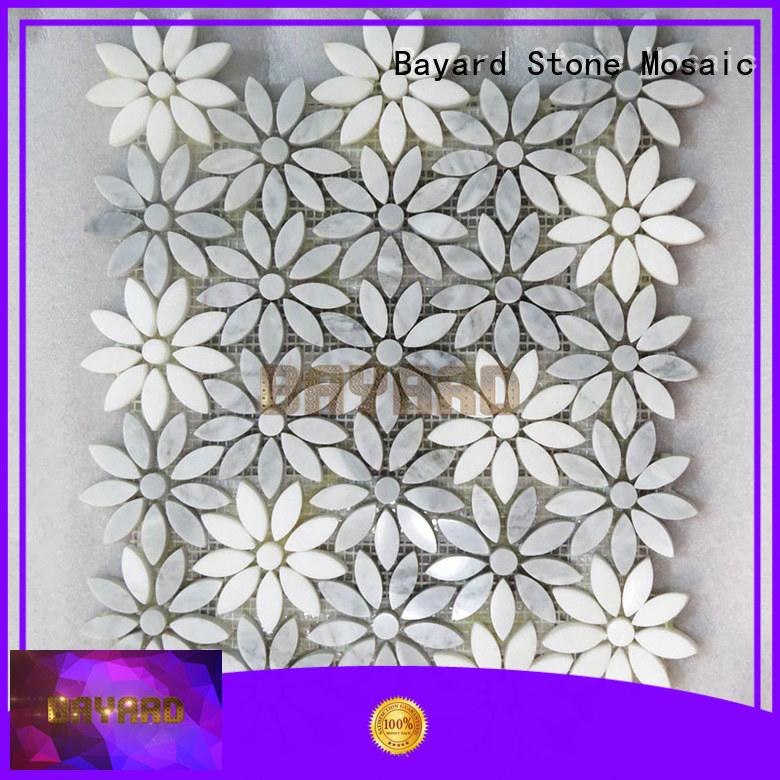 Flower shape marble mosaic tiles granite mosaic tile sheets silver grey mosaic tiles