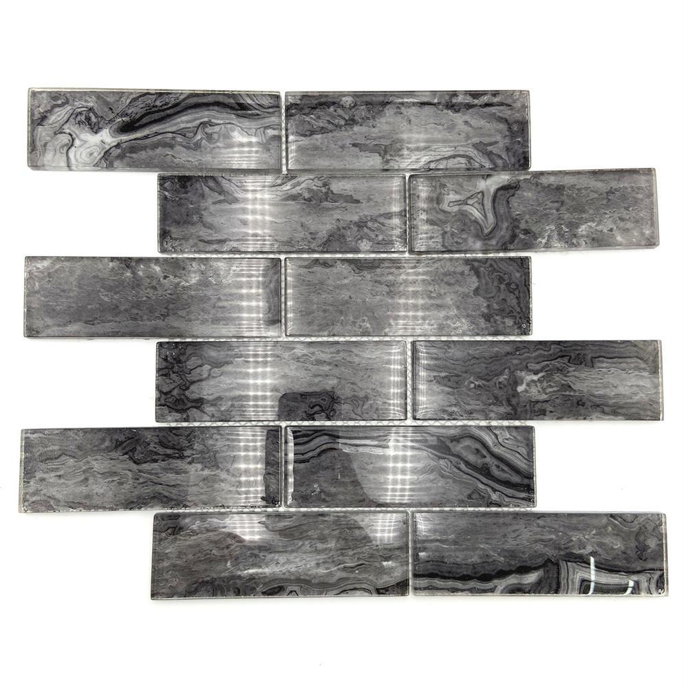 Black marble pattern glass mosaic tile
