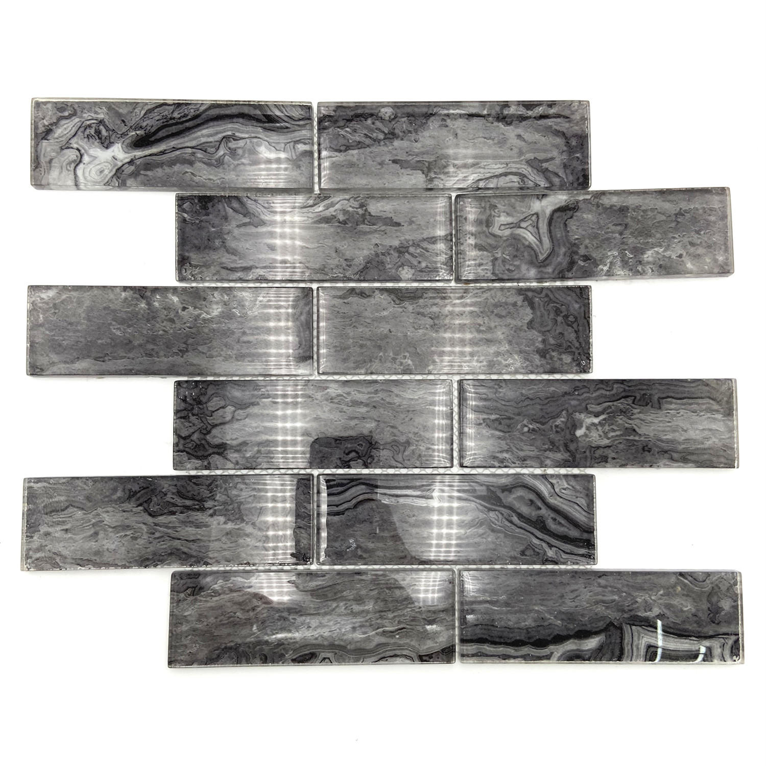 Black marble pattern glass mosaic tile