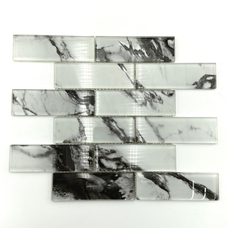 Volakas or Carrara glass mosaic tile