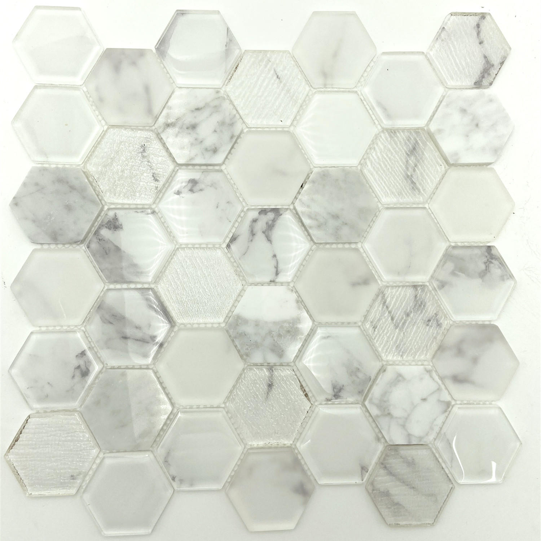 Volakas or Karrara glass mosaic tile