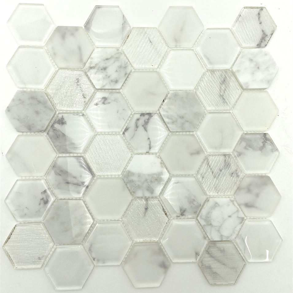 Volakas or Karrara glass mosaic tile