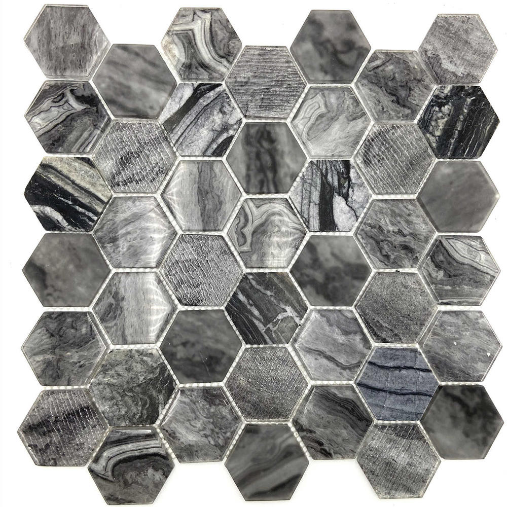 Black glass mixed stone mosaic tile