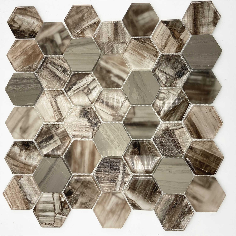 Brown glass mosaic tile