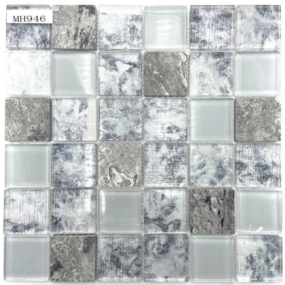 White mixed grey glass and stone mosaic tile