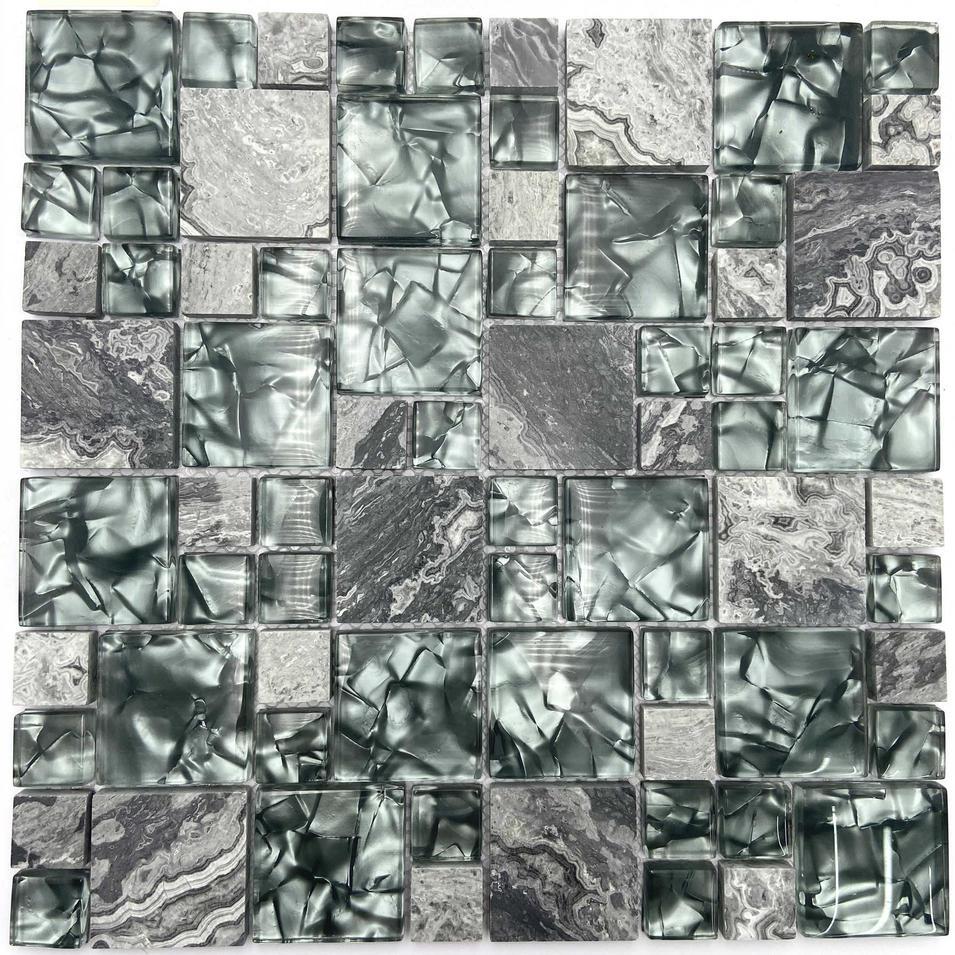 Green glass mosaic tile