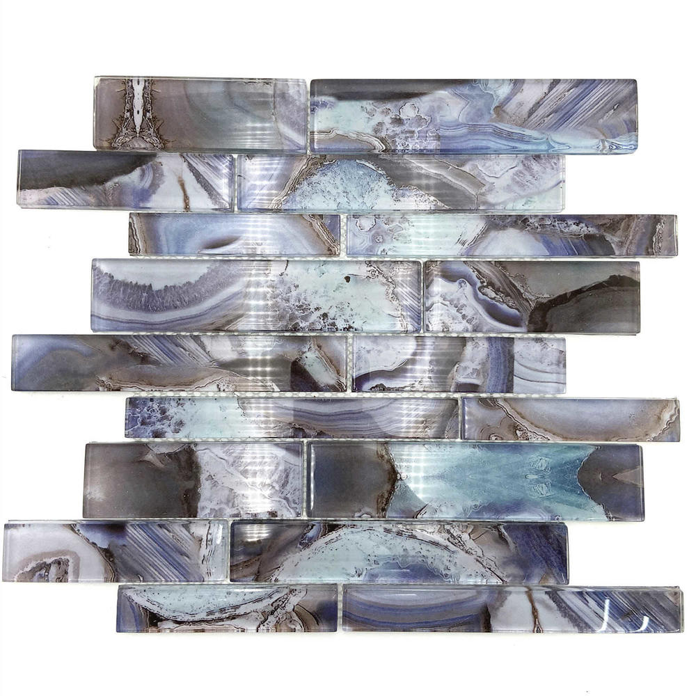 Indigo glass mosaic tile