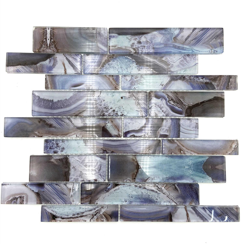 Indigo glass mosaic tile