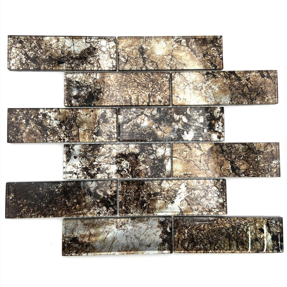 Fantastic brown color glass mosaic tile
