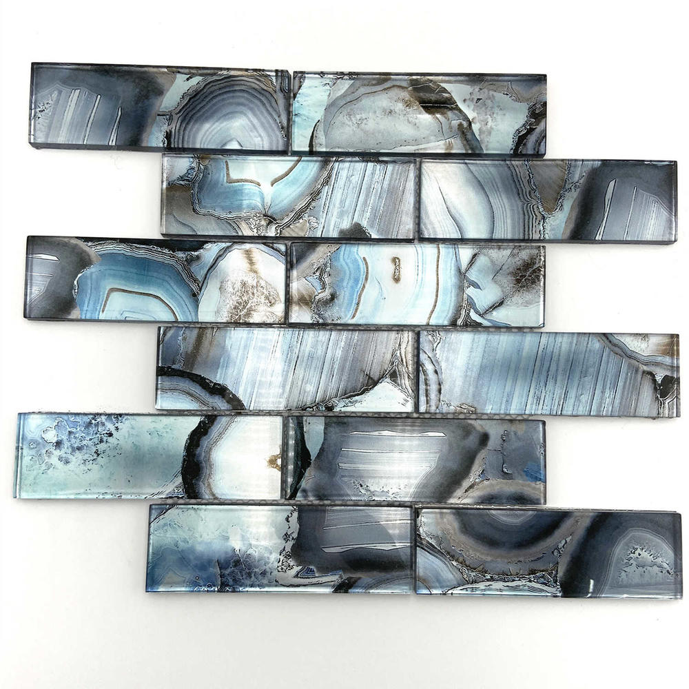 Bright and sea blue glass mosaic tile